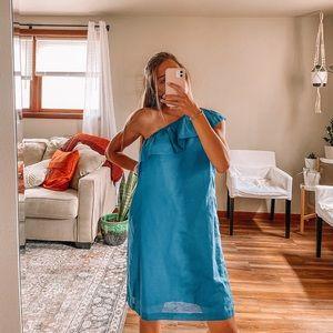 NWT J.Crew one shoulder royal blue ruffle dress